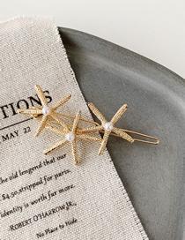 Fashion Three Starfish Golden Shell Starfish Metal Hair Clip