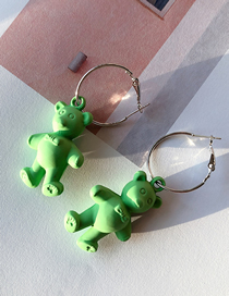 Fashion Green Fluorescent Cartoon Bear Earrings