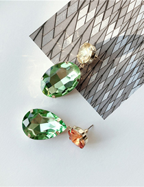 Fashion Advanced Green Glass Crystal Contrast Earrings