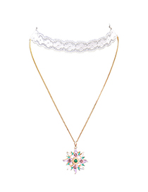 Fashion Color Star Moon Double Lace Necklace