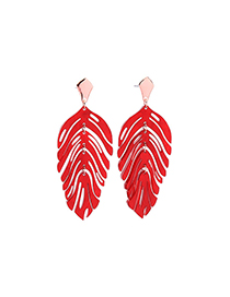 Fashion Red Acrylic Plate Leaves S925 Silver Needle Stud Earrings