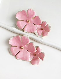Fashion Pink Alloy Flower Earrings