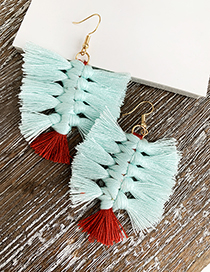 Fashion Blue Alloy Cotton Tassel Earrings