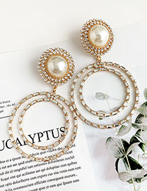 Fashion Gold Alloy Diamond-studded Multi-layer Round Earrings