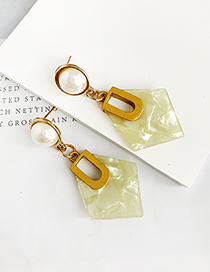 Fashion Yellow Alloy Resin Diamond Earrings