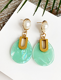 Fashion Blue Alloy Resin Oval Earrings