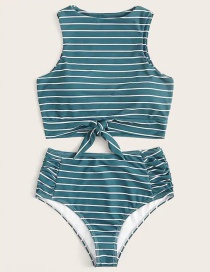 Fashion Blue And White Stripes Printed High Waist Split Swimsuit