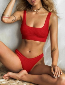 Fashion Red Solid Color Split Swimsuit