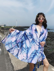 Fashion Bright Blue Leaves Oversized Sunscreen Shawl