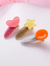 Fashion Red Orange Colorful Love Stars Round Hair Clips Three-piece