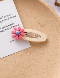 Fashion Beige Acrylic Flower Oval Hair Clip