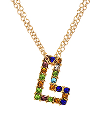 Fashion Letter L Alloy Diamond Alphabet Necklace
