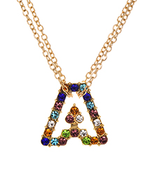 Fashion Letter A Alloy Diamond Alphabet Necklace