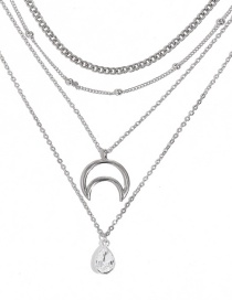 Fashion Silver Openwork Moon Drip Diamond Four Layer Necklace