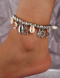 Fashion Silver Silver Bead Shell Hollow Five-pointed Star Anklet