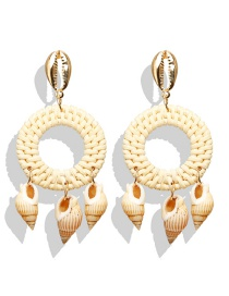 Fashion Gold Alloy Natural Conch Wood Rattan Woven Earrings