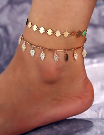 Fashion Gold Metal Square Piece Palm Anklet Two-piece