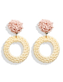 Fashion Pink Rice Beads And Rattan Woven Earrings