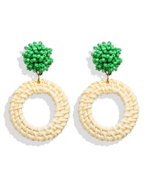 Fashion Green Rice Beads And Rattan Woven Earrings
