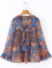 Fashion Blue Chiffon Flower Print V-neck Shirt