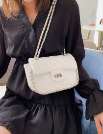 Fashion White Single Shoulder Slung Rhombic Chain Bag