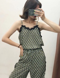 Fashion Green Lace Diamond Print Sling Vest