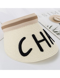 Fashion White Letter Embroidery Cha Empty Straw Hat