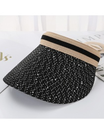 Fashion Black Bright Line Woven Empty Straw Hat