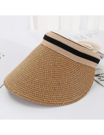 Fashion Light Brown Bright Line Woven Empty Straw Hat