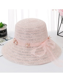 Fashion Snow Bud Powder Lace Pearl Ribbon Big Visor