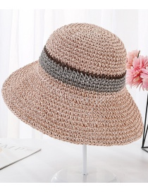 Fashion Pink Hand Hook Color Matching Straw Hat