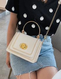 Fashion White Contrast Stitching Shoulder-slung Tote