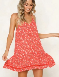 Fashion Red Printed Ruffled Hem Strap Dress