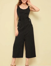Fashion Black Striped Sling Jumpsuit
