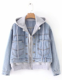 Fashion Blue Zippered Zipper Denim Jacket