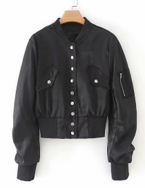 Fashion Black Button Pleated Jacket