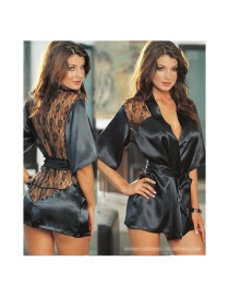 Fashion Black Lace Perspective Bathrobe