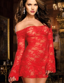 Fashion Red Long Sleeved Rose Lace Sexy Nightdress