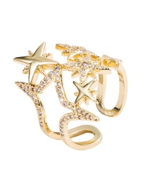 Fashion Gold Openwork Eight-pointed Star Open Diamond Ring