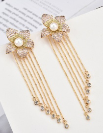 Fashion White S925 Silver Pin Micro-inlaid Zircon Three-dimensional Flower Fringed Water Drop Earrings