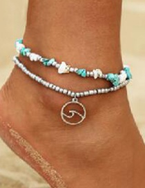 Fashion Color Alloy Beaded Turquoise Wave Double Layer Anklet