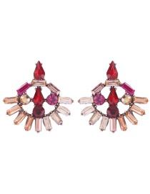 Fashion Red Alloy Hollow Geometry Stud Earrings