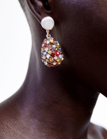 Fashion Gold Color Drill Alloy Studded Hollow Pearl Stud Earrings