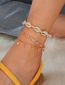 Fashion Gold Diamond Alloy Star Woven Shell Multi-layered Anklet