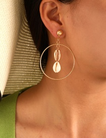 Fashion Gold Geometric Alloy Round Shell Earrings