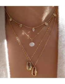 Fashion Gold Alloy Water Drop Pearl Shell Multilayer Bead Chain Necklace