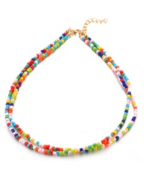 Fashion Color Woven Rice Beads Multi-layer Necklace