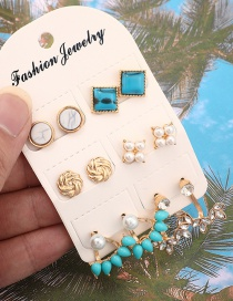 Fashion Gold Diamond-studded Geometric Alloy Turquoise Pearl Flower Earrings 6 Pairs