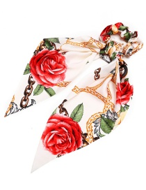 Fashion White Printed Silk Tow Band