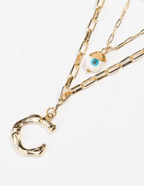 Fashion Gold Letter Pearl Zircon Natural Dianthus Chain Multilayer Necklace